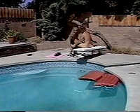 Sweet blonde babe acquires group-fucked by a horny pool fellow in the afternoon