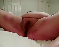 Dirty BBW white floozy was pushing her cunt with a toy