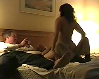 Love watching how my milf white women rides my buddy in our bedroom