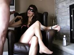 My slim milf black cock sluts is giving me tugjob in our femdom games
