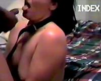 Submissive cheating wife is on her knees sucking my knob in the bedroom