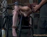 Brunette wench acquires fucked with fucking machine and pleases her corporalist