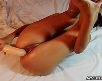 Stunning solo with a cute Filipina pounding her vag with a sex toy