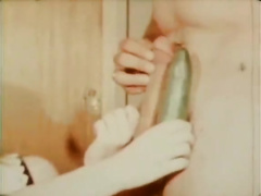 Vintage unshaved cutie masturbates with a cucumber but it is still not what this babe wishes