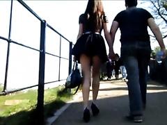 Beautiful white women with her boyfriend in public spied on webcam