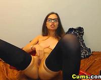 College Babe Masturbating her Tight Pussy