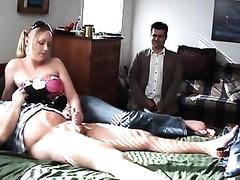 Kinky voyeur watching his girlfriend gives tug job to strange guy