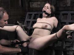 Slim hussy receives abased and tortured in outdoor BDSM movie