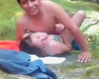 Me and my Mexican girlfriend having sex in a forest