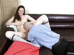 Amateur redhead honey lets an mature guy eat her bald twat