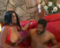 Divine swarthy femdom-goddess with large bumpers receives boned by BBC on her side from behind