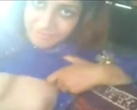Indian bulky prostitute in my car flashes her boobies