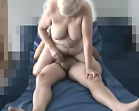 Sucking and riding my plump Russian spouse in our bedroom