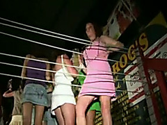 Dirty whores on the disco club stage filmed upskirt