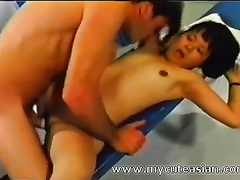 Hot Chinese bitch is getting screwed hard in the locker room