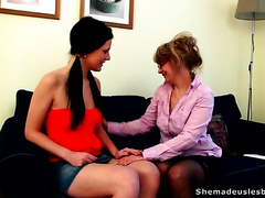 Two adorable college strumpets are seduced by experienced milf lesbo