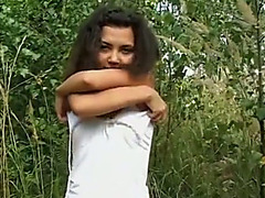 Curly haired legal age teenager in hawt fishnet nylons rides her BF's penis like a boss