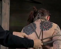 Tattooed redhead with diminutive bazookas acquires the punishment that babe merits