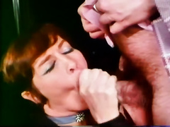 Retro porn compilation with aged ginger floozy and cute dark brown gal
