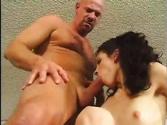 Smoking hawt dark brown receives drilled by 2 dudes in an office