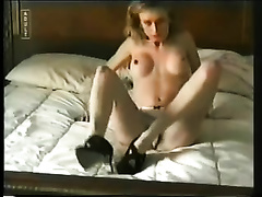 Petite milf blond hotwife undresses in our bedroom on intimate episode