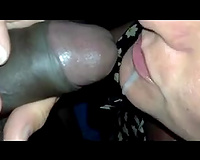 White hooker sucks my BBC and eats the jizz which this babe receives