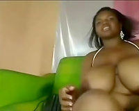 Black gangsta amateur wife with cool ass and biggest knockers shows off on livecam