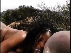 Feverish African hubby anal copulates his sexually excited honey outdoors
