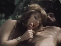 Sweaty vintage FMM three-some sex outdoors on the beach