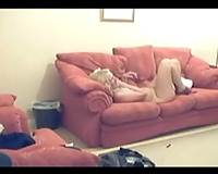Hidden webcam in my living room to film how I fuck a naughty horny white wife