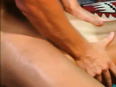 Tattooed retro golden-haired receives drilled and facialed by a long-haired stud