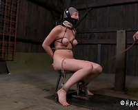 Sexually uncomplaining nympho with tiny tits is bound to a chair