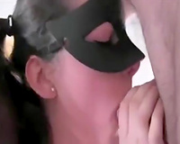 Skanky dark brown in the mask can't live without cowgirl position
