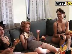 Lascivious harlots have lesbian joy oat the hen-party