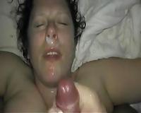 Nice dilettante facial for my white girlfriend on POV sex tape