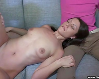 Naughty and excited brunette hair gives oral sex for cash