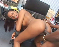 Ebony floozy got her snatch reamed in the office where that babe works