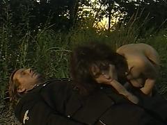 Hot Italian black cock slut with marvelous shapes bonks a concupiscent soldier