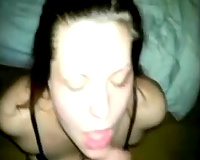 My hot bride works on my prick and lets me cum on her face