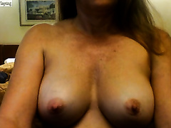 A couple of outstanding white merry breasts flashed on web camera