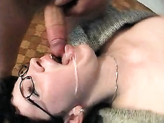 Nerdy dark brown European black cock sluts loves to be fed with soft 10-Pounder