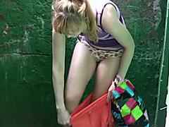 Piss fetish outdoor solo video with slender golden-haired Sveta