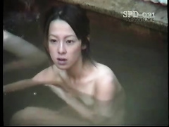 Amateur Japanese youthful hotties in the sexy tub pool bathing