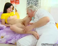 Teen hussy Alena plays smutty games with an elderly doctor