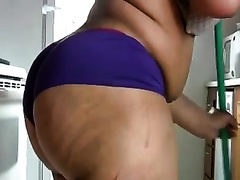 Plump and alluring big brown booty of my amateur wife