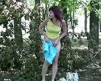 Sexy Russian sweetie pees a gallon of urinate in her panties