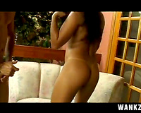 Saucy dark brown Latina playgirl acquires bizarre double penetration