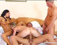 Breath-taking foursome sex scene with 2 non-professional angels