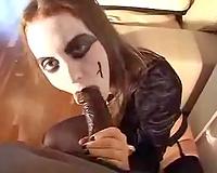 Filthy Caucasian goth sucks my large dark cock until I cum on her scones