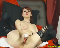 Flexible redhead squirter pounded in dark stockings